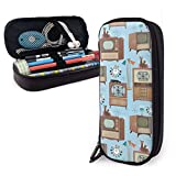 Vintage Television Sets With Cat Lamps And Atomic Clocks Variety Face Towel Leather Pencil Case Pouch Zippered Pen Box School Supply For Students Big Capacity Stationery Box Travel Makeup Pouch Bag