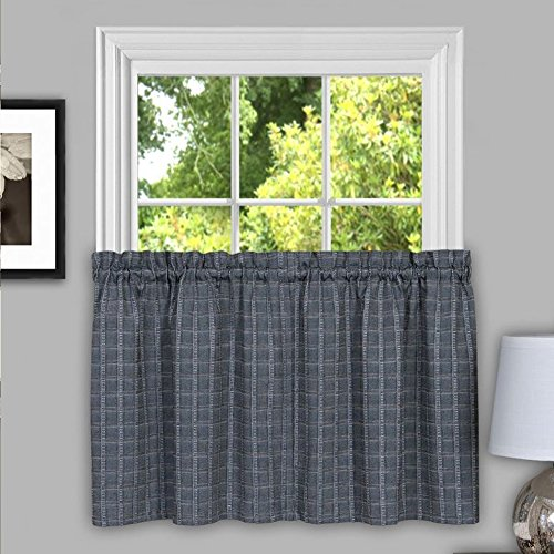 """Sweet Home Collection Kitchen Window Curtain Panel Treatment Decorative Plaid Design, 24"""" Tier, Gray"""