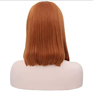 Huanxidp 16inches Orange Free Part Short Lace Front Wig Synthetic Hair Heat Resistant Glueless Natural Silky Straight Fibe...