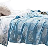 MEJU Fish Muslin Lightweight Summer Blanket for Bed Sofa Couch, 100% Combed Cotton 3 Layer Soft Warm Quick Dry Throw Blanket Bed Coverlet Sheet (Fish Blue, Twin 59' X 78')