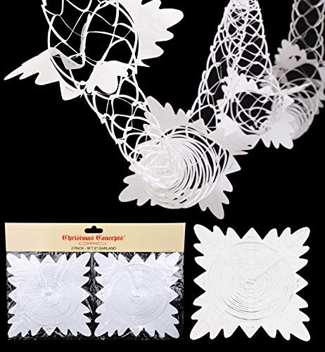 Christmas Concepts Pack Of 2 9ft Garland Festive Hanging Decorations - Christmas Decorations (WHITE)