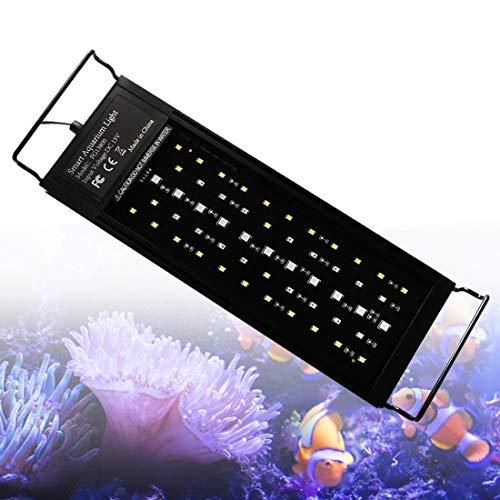 LED Aquarium Beleuchtung 18W 30cm Fish Tank Aufsetzleuchte Mit Timer und Erweiterbarer Halterung Aquarium Lampe für 30-50cm Vollspektrum Automatisches Timing Licht für Fische Koralle