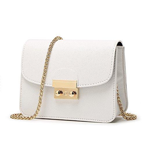CHIKENCALL Damentasche Kleine Damen Umhängetasche Citytasche Schultertasche Handtasche Elegant Retro Vintage Tasche Kette Band - Weiß