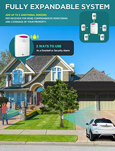 Driveway Alarm Wireless Outside, 1byone Motion Sensor Alarm 1000 FT Range Extra Loud Chimes Home Security Alarm System with 1 Receiver 2 Weatherproof Infrared Sensors Protect Indoor/Outdoor Property