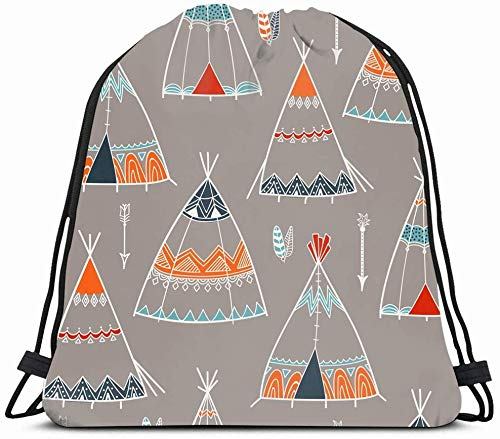 DHNKW Drawstring Backpack String Bag 14X16 Teepee Hut Creative Arrow Circus Pattern Caravan Arrows Vintage Kids Lakota Tent Gypsy Folkloric Floral Camp Sport Gym Sackpack Hiking Yoga Travel Beach