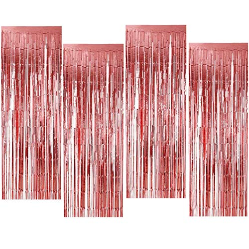 OUOQI Cortina de Oropel,4PCS Metálica Foil Fringe Cortinas,1m x 2m Tinsel Brillo Cortina,Cortina de Flecos de Papel para decoración de cumpleaños, Bodas, Fiestas, Halloween, Navidad(Oro Rosa)