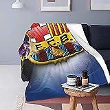 Flauschige Überwurfdecken mit FC Barcelona Logo, superweiche Fleece-Tagesdecke, Flanell-Mikrofaser-Decke für Bett, Couch, Sofa, Erwachsene & Kinder, alle Jahreszeiten