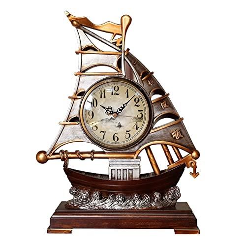 AWJ Reloj de Mesa Reloj de Mesa Reloj de Mesa Relojes silenciosos Retro Sala de Estar Digital Relojes de Mesa Escritorios Decoraciones de navegación Reloj Despertador de 12 pulga