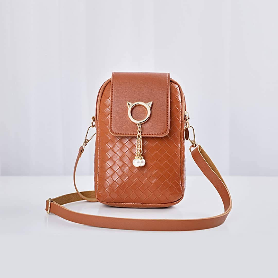 ISYSUII Crossbody Wallet Case for Samsung Galaxy S21 FE Leather Case Cover Cell Phone Purse with Adjustable Shoulder Strap with Zipper Card Holder Shoulder Handbags Clutch for Women,Brown