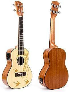 """Kmise Soild Spruce Ukelele Uke 24"""" Electric Acoustic Concert Ukulele Hawaii Guitar"""