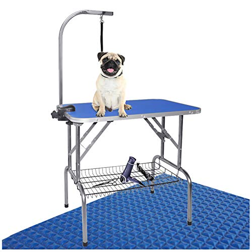 LEIBOU Pet Dog Grooming Table Foldable Grooming Table Heavy Duty Stainless Steel Frame with Arm & Noose & Mesh Tray for Dog Cat Pet Grooming Blue(32' x 20' x 30'')