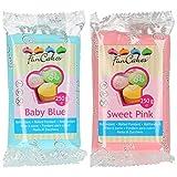 Funcakes - 2 X Paquetes de Fondant / Pasta de azucar de 250g (Azul bebe y rosa dulce)