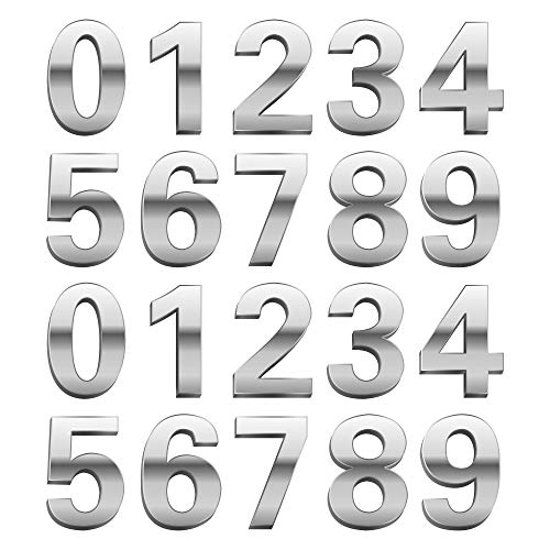 20 Pieces Mailbox Numbers,2.6inch Self-Adhesive Door House Numbers Mailbox Numbers Street Address Numbers for Residence and Mailbox Signs, 0 to 9 (Silver)