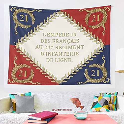 LizaCheng Napoleonische Französische Regiments-flagge 21me 1804 Tapisserie Wandbehang Wandteppiche Für Wohnzimmer Schlafzimmer Wohnkultur 29x35inch Polyester