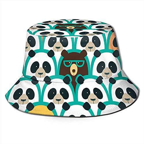Sombrero de pescador sombrero de pescador de caza, gorros de pesca de moda estilo deportivo al aire libre, gris hockey-verde blanco y negro Panda patrones de gafas de sol