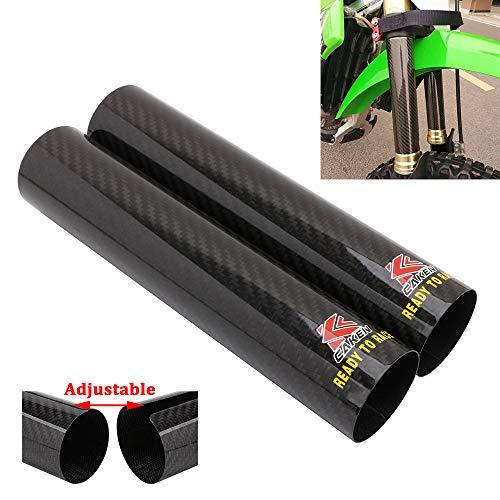 JFG RACING Motorrad-Gabelschutz für Vorderrad, Karbonfaser, stoßdämpfend, Gatoren, Stiefel, verstellbar, universell für Dirtbike, 225 mm