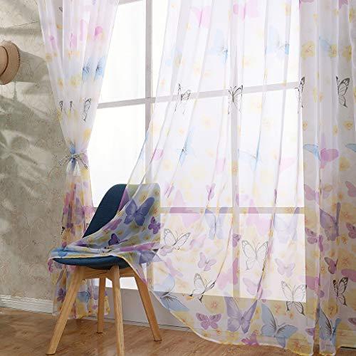ToDIDAF Transparente Gardinen Vorhang, Großer Schmetterling Vorhänge Tüll Fenster Behandlung Drapieren Volant, 1 Paneelstoff für Wohnzimmer Schlafzimmer Kinderzimmer Deko 100 x 250 cm (Blau)