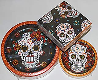 Day of the Dead Halloween Paper Plates - Dinner and Napkin Party Pack - Serves 50 - Set includes 50-10.25