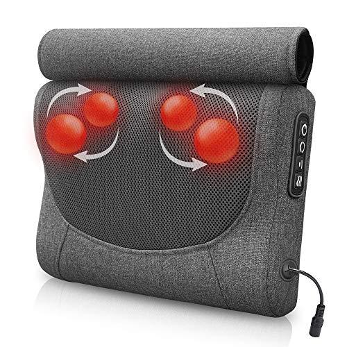 Comfier Shiatsu Neck Massager Pillow- Neck and Back Massager with Heat & Flexible Massage Nodes,Ideal Gifts for Women,Men,Pillow Massagers for Cervical,Shoulder,Back,Foot
