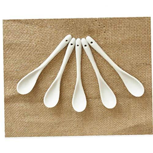 AYRSJCL 5Pcs cucharita de café Cocina de Suministro Cuchara de cerámica Blanco Puro de China de Hueso del vajilla de té pequeña Cuchara de Porcelana Cucharada