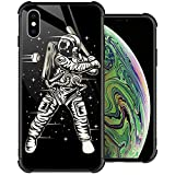 iPhone Xs Case, Space Baseball iPhone X Cases, Tempered Glass Back+Soft Silicone TPU Shock Protective Case for Apple iPhone X/Xs