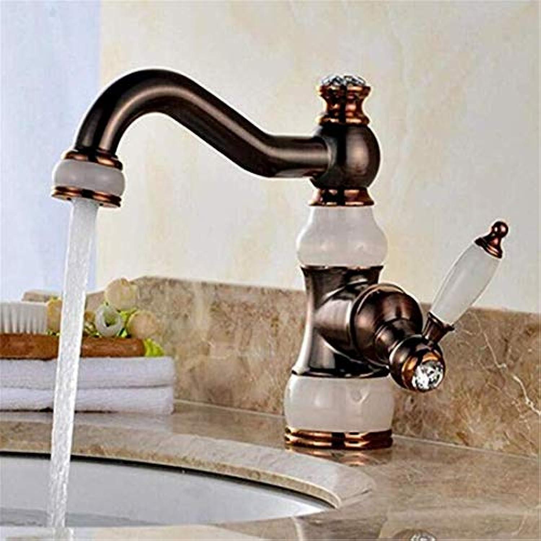 Luxus Modern Hei Und Kalt Wasserhahn Vintage überzugmarmor Becken Wasserhahn Einhand Schwarz l Gebürstet Waschbecken Sink Mischbatterien