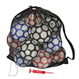 GoSports Premium Mesh Ball Bag with Sport Ball Pump, Great for All Sports (Soccer, Football, Basketball, Volleyball and More), Black, Full Size