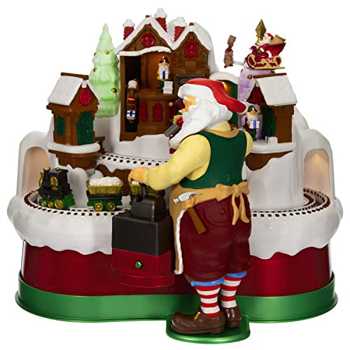 Hallmark Keepsake Christmas Ornament 2019 Year Dated Magic Musical Decoration with Light and Motion (Plays Here Comes Santa Claus and Jingle Bells Songs), Train Tabletop