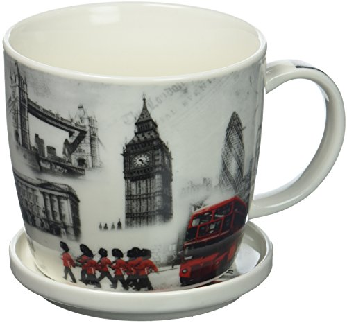 The Leonardo Collection Fine China London Commemorative Mug & Coaster Delivered In a Gift Box, White