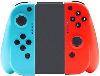 switch コントローラー Joy-con代替品 ニンテンドースイッチ対応 グリップ付き ジャイロセンサー搭載 キャプチャー機能 HD振動 日本語説明書付き レッド(L)/ブルー(R) …