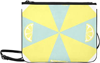 Pastel Mint Green Yellow Slice Lemon Pattern Custom High-grade Nylon Slim Clutch Bag Cross-body Bag Shoulder Bag