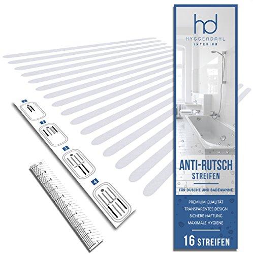 HYGGENDAHL 16x Anti-Rutsch Streifen für Dusche Whirlpool Badewanne | Selbstklebender Rutschschutz Transparent | Klebestreifen mit Positionier-Schablone