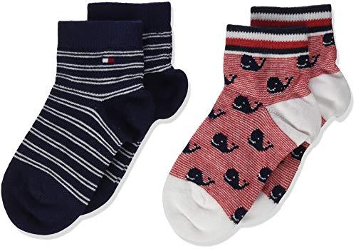 Tommy Hilfiger Th Baby Sock 2p Whale Calcetines, Multicolor (Tommy Original 085), 19-22 (Pack de 2) para Bebés