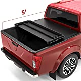 oEdRo Tri-Fold Truck Bed Tonneau Cover Compatible with 2005-2021 Nissan Frontier 5 Feet Bed, Fleetside (for Models w/or w/o Utili-Track System)