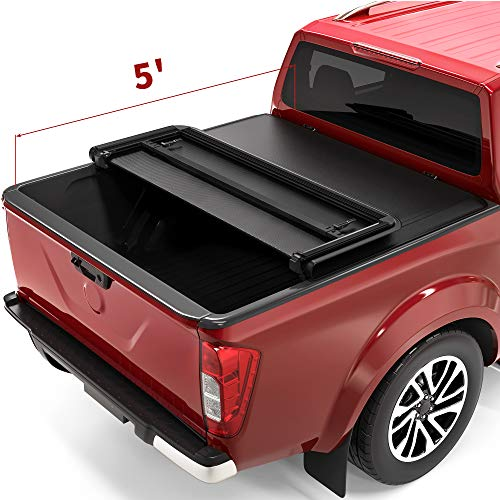 oEdRo Tri-Fold Truck Bed Tonneau Cover Compatible with 2005-2020 Nissan Frontier 5 Feet Bed, Fleetside (for Models w/or w/o Utili-Track System)