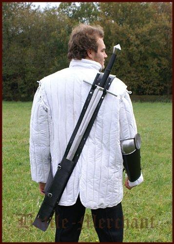 Battle-Merchant Rückenscheide aus schwarzem Leder - Schwertscheide Schwert Scheide