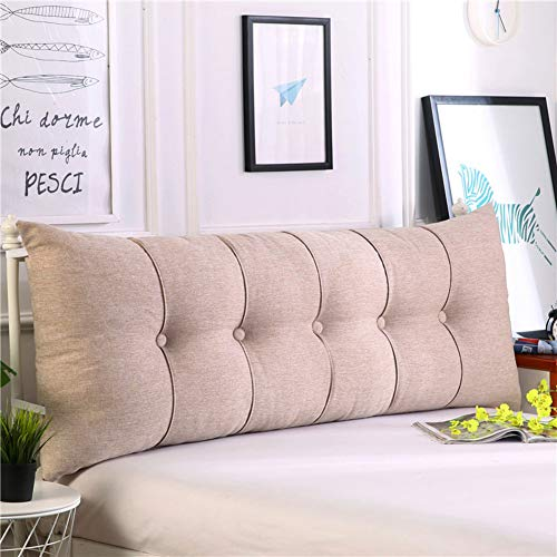 HAOLY Baumwolle und leinen rechteckig Bett Kopf Kissen,Große dreieckige Sofa rückenlehne,Weiche Tasche Tatami Bett Kissen,Abnehmbaren rückenpolster-K 120x20x60cm(47x8x24inch)