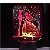 3Dイリュージョンナイトライト ロマンチックな恋 スマートタッチ 子供のためのランプ3Dナイトライト-スマートタッチとUSBケーブル付き7色ナイトライト恋人クリスマスギフト女性のための十代の女の子の家の装飾