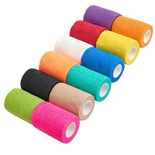 Self Adhesive Bandage Wrap 3 Inch Self Adherent Wrap Cohesive Bandage, Elastic Bandage First Aid Tape in 12 Colors
