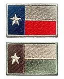 Antrix 2 Stück Taktische Texas-Stern-Flagge Patch Hook und Loop Texas Staatsflagge Patch für Rucksack, Jeans, Jacke, Weste, Militäruniform