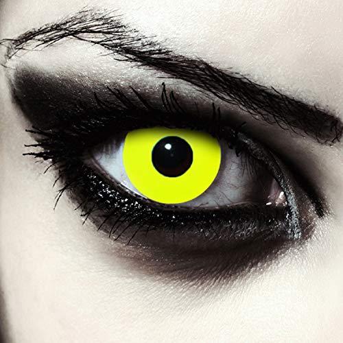 Designlenses, Dos lentillas de color amarillo totalmente para Halloween exorcista zombie disfraz lentes sin dioprtas/corregir + gratis caso de lente Yellow Bigeye'