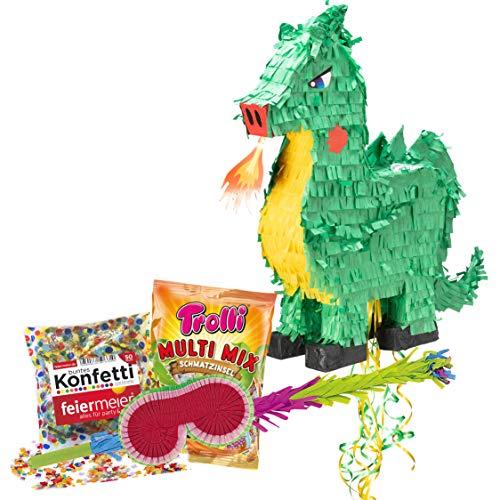 PartyMarty Pinata-Set: Pinata Feuerspeiender Drache + Schläger + Maske + Trolli Süßigkeiten-Füllung + Konfetti