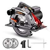 Circular Saw 12.5A TACKLIFE,7-1/4' & 7-1/2' Two Blades, Electric Circular Saw, 5000 RPM, 0-45° Bevel Cuts, 0°:2-3/5'', 45°:1-7/10'',Scale Ruler, Laser Guide, Iron Base - PES03A