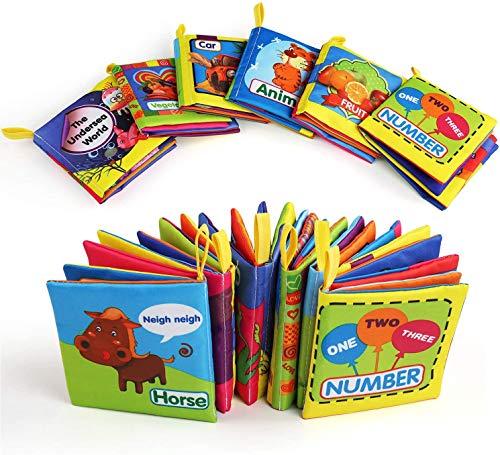 BelleStyle Libro Bebe, Libro Texturas Bebe para Juguetes Bebes 1 Año, Cloth Book, Libro Blando para Baño, Soft Book Educación Temprana y Desarrollo de Juguete, 6 PCS