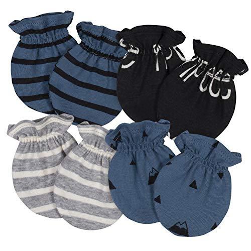 Grow by Gerber Baby Boys Organic 4-Pack Mittens, Black/White/Grey/Blue, Newborn