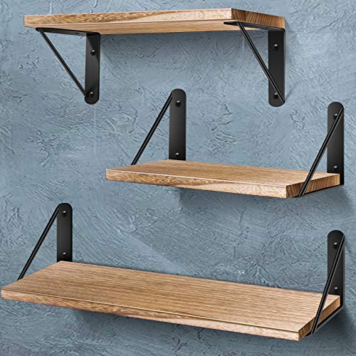 AIBORS Floating Shelves for Wall, Rustic Wood Wall Shelves Decor Set of 3 for Bedroom, Bathroom, Living Room, Kitchen, Office, Laundry Room, Burlywood