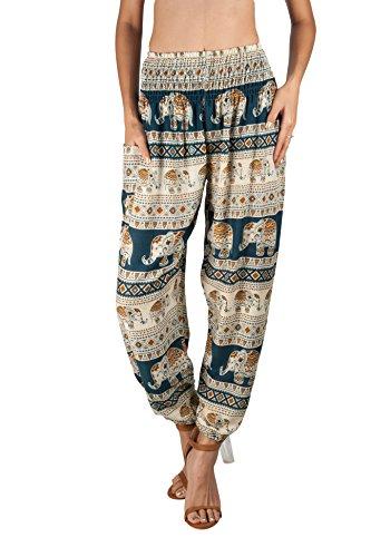 Joob Joob Women's Comfy Bohemian Tapered Elephant Harem Loose Yoga Travel Pajama Lounge Boho PJ Pants Teal
