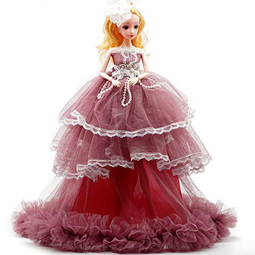 Metermall 40cm Wedding Dress Doll Children's Day Present Bride Princess Evening Gown Dress Girl Birthday Gift Doll MHJ245 wine red 40 cm