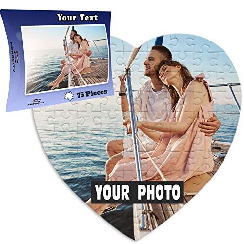 Puzzle Personalizzato con la tua foto Idea Regalo 19 x 19 cm, 75 piezas cuore a forma di Cuore - 75 Tessere