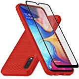 Samsung Galaxy A10E Case, with Tempered Glass Screen Protector, Muokctm Slim Soft TPU Protective Rubber Bumper Case Cover for Samsung Galaxy A10E Phone TPU Red